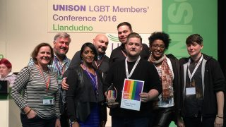 Yorks & Humberside delegates collecting recruitment award from vice president Carol Sewell